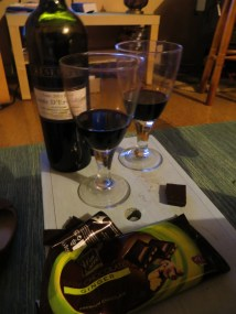 and finished off the special day with a gorgeous bottle of wine and chocs .