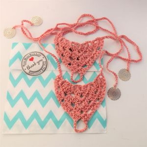 Crochet beach sandals in coral colour, handmade barefoot beach sandals