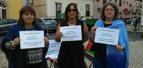 Isabel Lourenço y Helena Brandao con Helana Dias (derecha) activista por los derechos de los pueblos