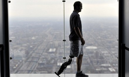 Thinking his way to the top: Amputee uses thought-controlled bionic leg to climb 103 flights of stairs to top of skyscraper | David Baker