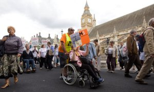A demonstration by disabled people against cuts to their benefits in Westminster, London. Photograph: Martin Argles for the Guardian