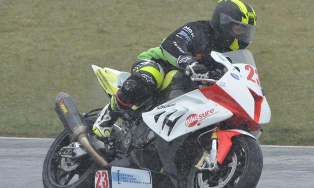 Disabled racer Mark in flying form until snow intervenes