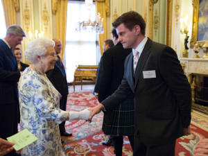 Ted Varley with Her Royal Highness Queen Elizabeth II at the UK Technology Reception at Buckingham Palace