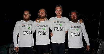Hamish, Jamie, Alex, Angus – the 'fastest men in the West'- back on dry land & proudly displaying Enham Trust's logo