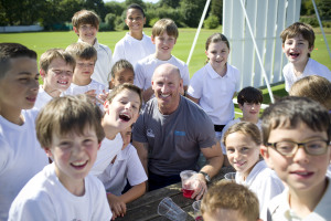 Rugby legend Gareth 'Alfie' Thomas is backing Prospero Teaching 'Balls To Bullying' campaign working with Kids at North Middlesex Cricket Club London. Photo by  ©Vicki Couchman