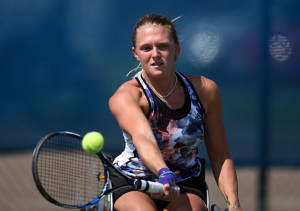 Jordanne Whiley of Great Britain in action on Day 2 of British Open WheelchairTennis Championships in Nottingham on Wednesday, 15th of July 2015