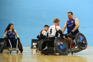 LEICESTER, ENGLAND - JUNE 10: Jim Roberts takes part in training during the Great Britain Wheelchair Rugby Media Day on June 10, 2015 in Leicester, England. (Photo by Jan Kruger/Getty Images,)