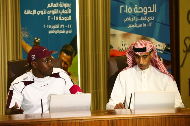 Qatari world-record holder Abdelrahman Abdelqader and Secretary General .._
