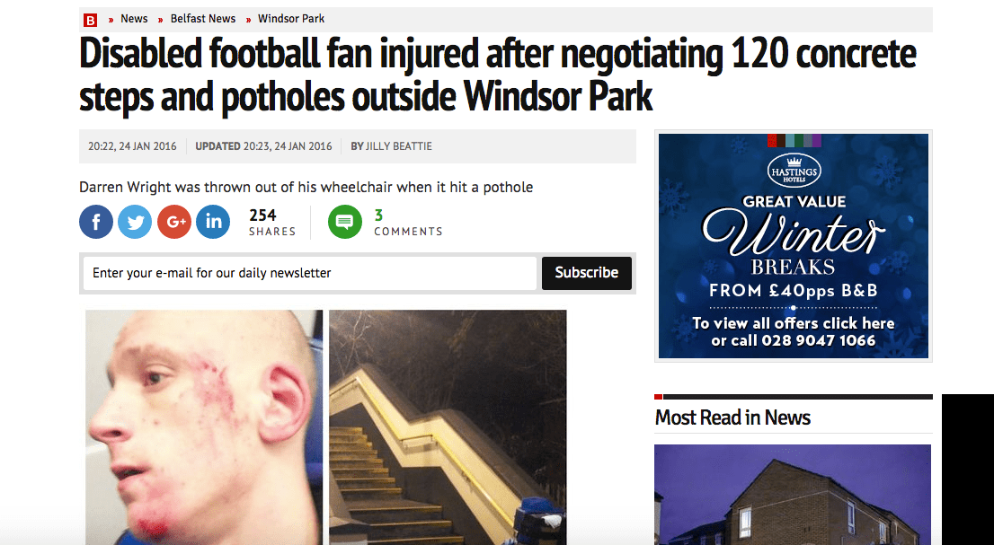 Disabled Football Fan Injured by 120 Steps and Potholes