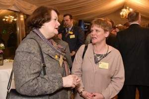 Dr Philippa Whitford MP talks to a Blind Veterans UK welfare officer