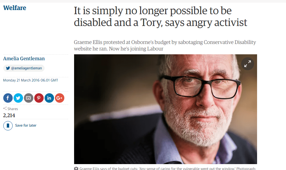 """""""It is simply no longer possible to be disabled and a Tory"""""""
