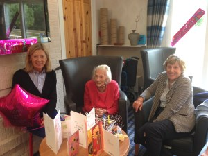 Margaret with daughters Jacqueline (right) and Susan (left) on her 103rd birthday last July