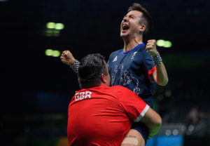 William John Bayley GBR wins 3-1 against Israel Pereira Stroh BRA in the Men's Singles - Class 7 Gold Medal Match at the Riocentro - Pavilion 3. Monday 12th September 2016. Photo: Thomas Lovelock for OIS/IOC.  Handout image supplied by OIS/IOC