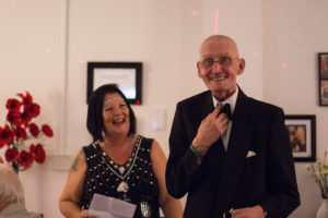 Manager Margaret McEwan with tenant Bill Hunt by Bethany Allchin