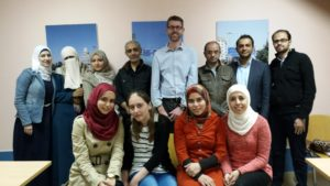 Andrew Miller with former Masters students from the German Jordanian University Vision Rehabilitation Center. Amman