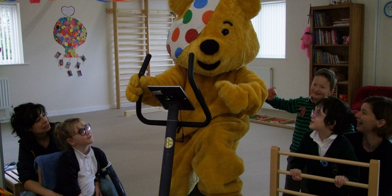 Pudsey Bear pedals in support of Luke's Rickshaw Challenge!