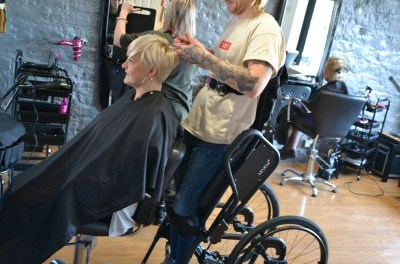 Standing wheelchair supports hairdressing dream