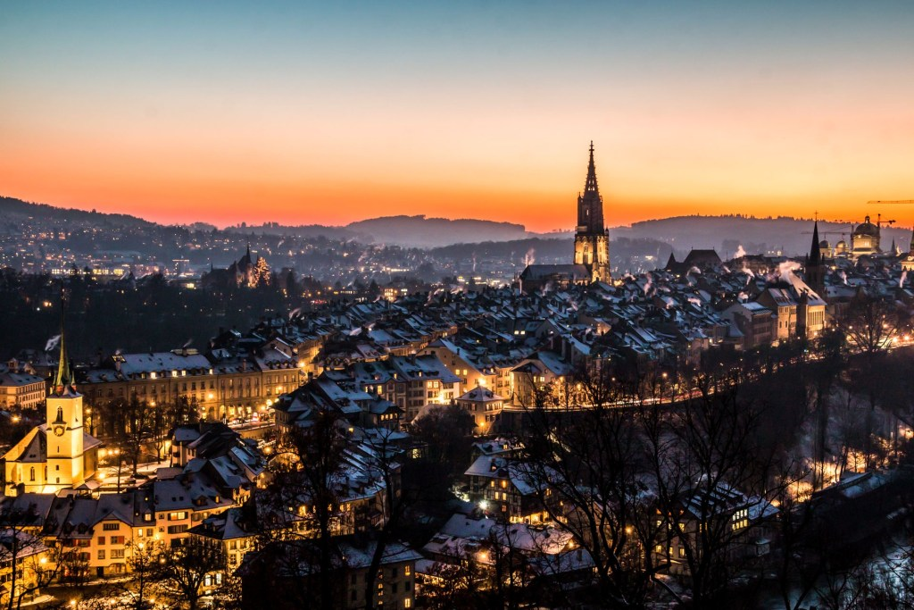 An aerial view of Bern, Switzerland, at dusk