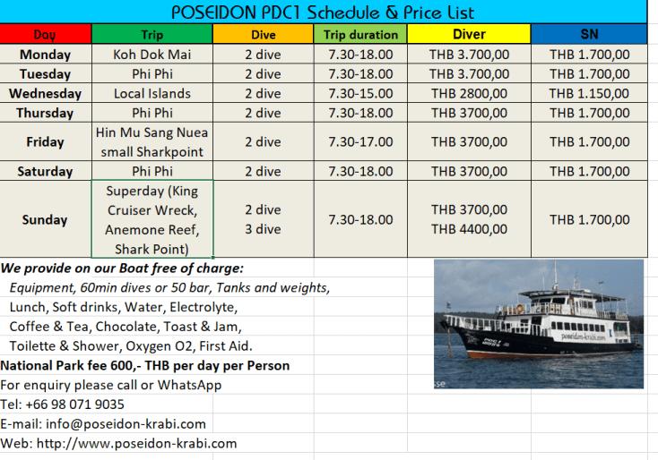 Tagesablauf Tauchschule Poseidon Saison 2019/2020
