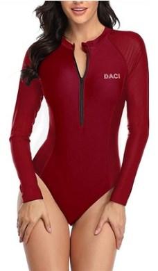 Daci Women Rash Guard Long Sleeve One Piece Swimsuit Zipper Surfing Bathing Suit UPF 50