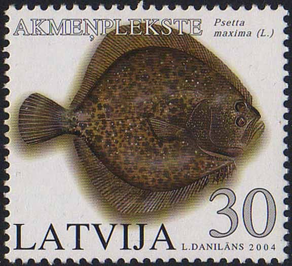 Latvian turbot stamp
