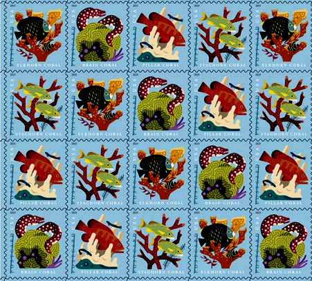 U.S.A. coral and fish stamps