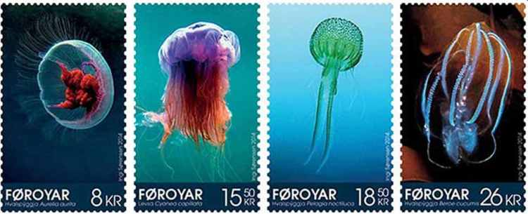 Faroe islands jellyfish stamps