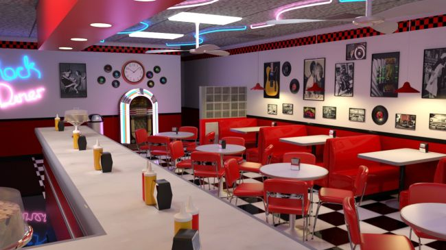 50s Diner 3D Models For Poser And Daz Studio