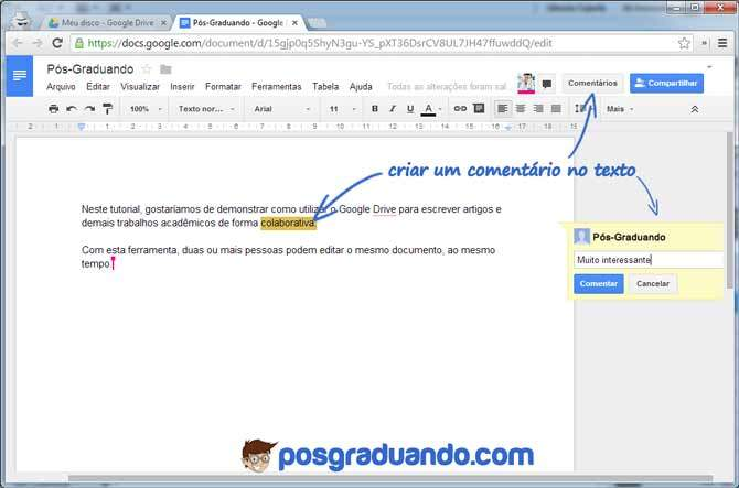 Colaboração em artigos científicos em tempo real com o Google Drive