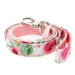 Pink Floral Cascade Fabric Dog Lead