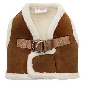 Luxury Faux Shearling Dog Harness In Brown