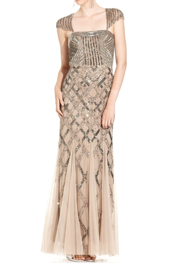 ADRIANNA PAPELL Sequin Square Neck Beige Cap Sleeve Beaded Gown