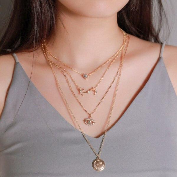 Boho Vintage Multi Layered Pendant Necklace