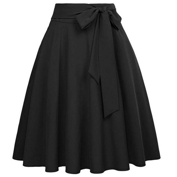 Pleated High Waist Knee Length Skirts