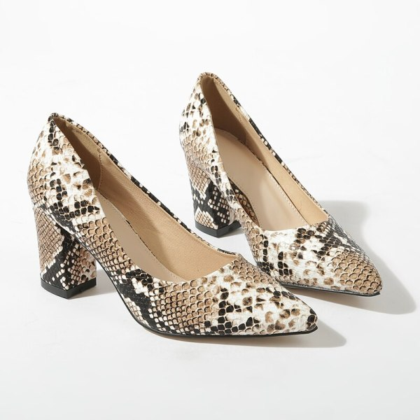 GENSHUO Snake Print PU Leather Shallow Pumps Size 35-40 Concise Fashion Dress Shoes Zapatos Mujer Block Heels Pointed Toe Shoes