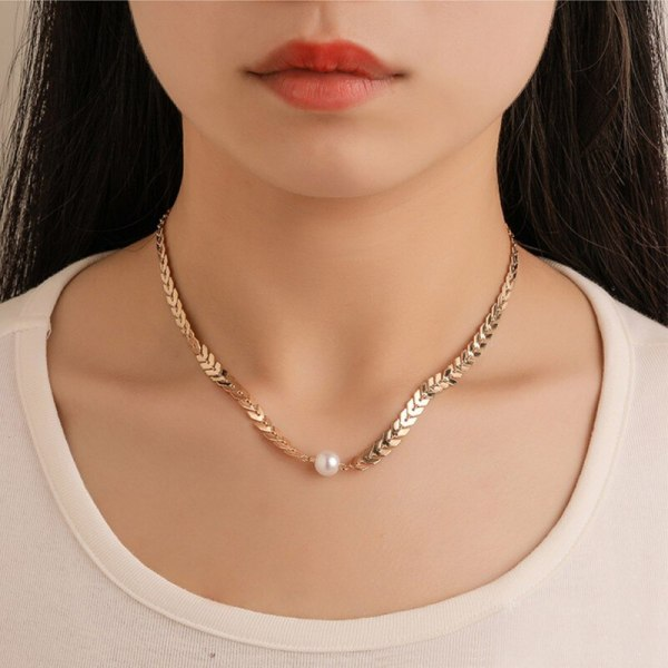 Fishbone Chain & Pearl Necklace