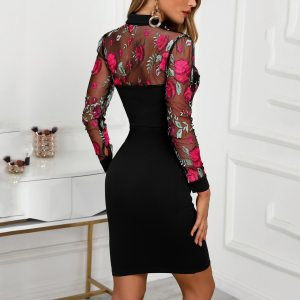 Womens Dresses Floral Embroidery Sexy Mesh Patchwork Bodycon Dress Casual V Neck Work Summer Feminina Mini Vestidos Mujer 2020