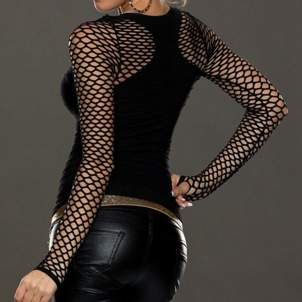 Women Slim Low Cut Long Sleeve Blouse Net Tops Punk Rock Gothic Fishnet Shirt