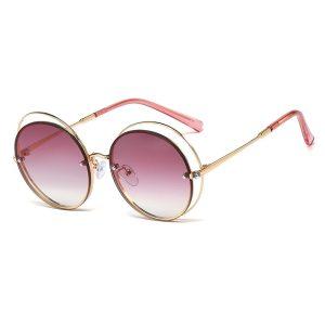 JASPEER Double Shade Sunglasses Women Round Lens Sunglasses Metal Shade Men Goggle Sunglass Fashion Eyewear Dual Shades UV400