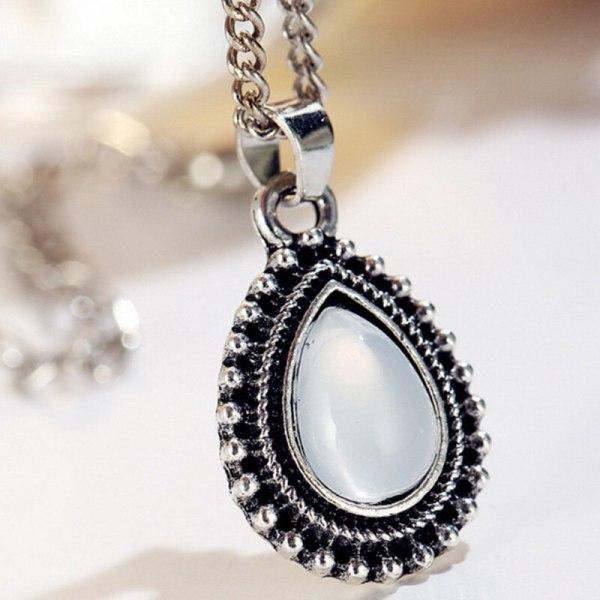 Retro Water Drop Crystal Pendant Multilayer Necklace