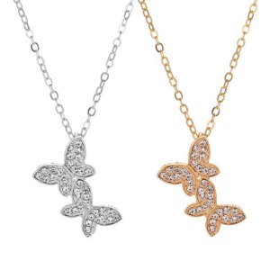 Double Diamond Butterfly Necklace