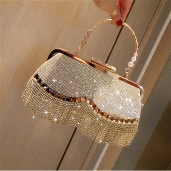Diamonds Tassel Ladies Evening Luxury Clutch
