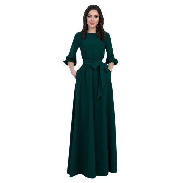 Lantern Sleeve O Neck Long Dress