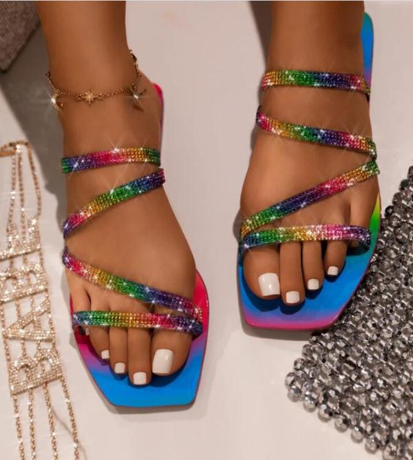 Summer Glitter Rainbow Slippers