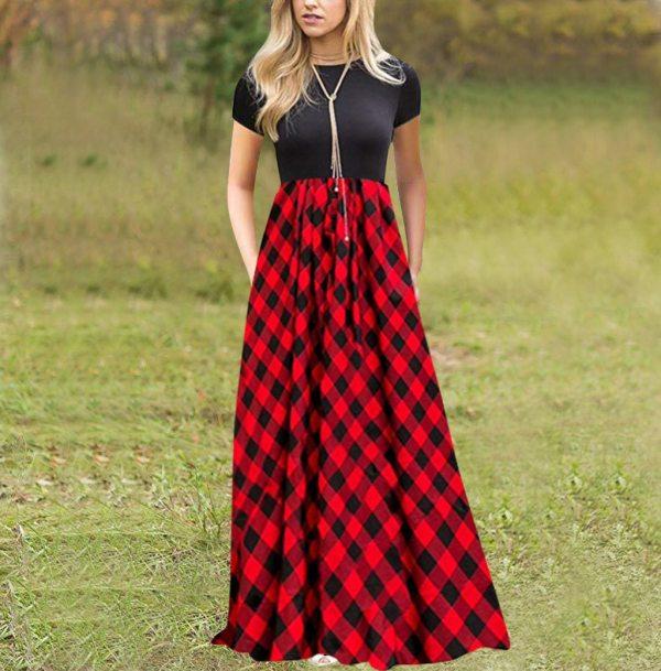 JAYCOSIN Women Vintage Plaid Print Splice O-Neck Short Sleeve Empire Waist A-Line Maxi Dress with Pockets Dresses Vestidos Mujer