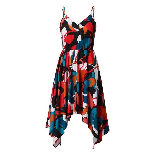 JAYCOSIN Women Print Irregular Hem Sleeveless Sling V Neck Split Blackless A-Line Dress Nightclub Sexy Long Dresses Vestidos