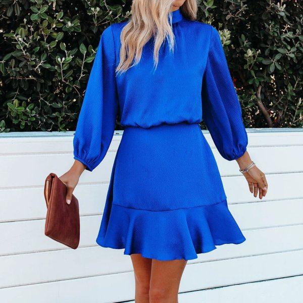 JAYCOSIN Autumn Fashion Elegant Women Solid Color Lantern Sleeve Mini Dress Long Sleeve O-Neck Waist Ruffles Hem Dresses vestido
