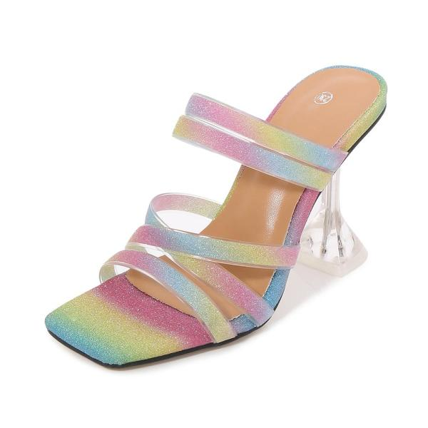 Summer High Heels Candy Striped Mules