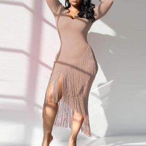 JAYCOSIN Fashion Women's Solid Color Long Sleeve O-Neck Cross Tassel Hem Knit Dress Autumn Ladies Sexy Sheath Dresses vestidos