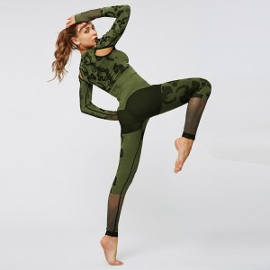 Womail Tracksuit Women Autumn Sexy Seamless Fitness Leopard Long Sleeve crop Top + Long Pant Slim Two Piece Set Outfit Sport set